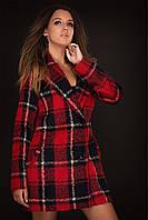 Пальто женское в клеточку красное кашемир 42,44,46