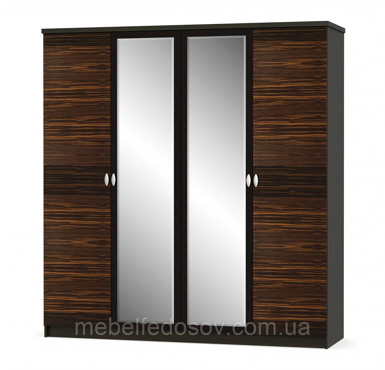 Шкаф 4Д Ева NEW (Мебель-Сервис)  2014х584х2141мм макасар
