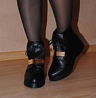 Кожаные ботинки на низком ходу, сезон осень и зима