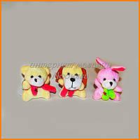 Мягкие игрушки брелки 5 см - кролик, мишка, собачка