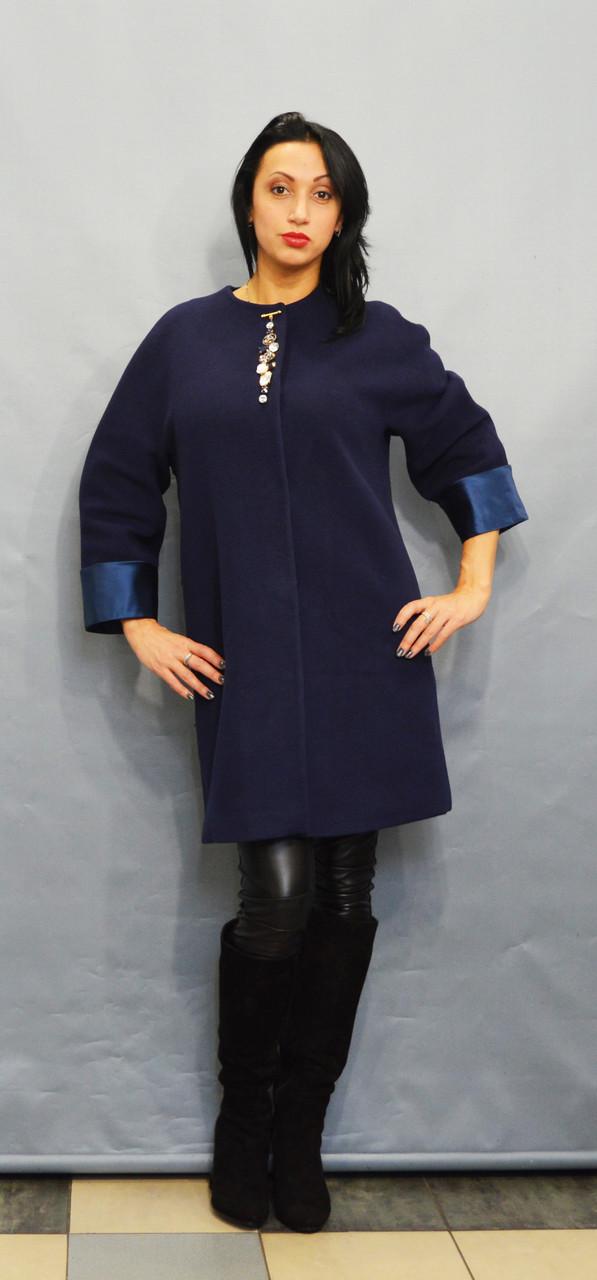 Пальто батальное синее Sassofono 500301