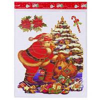 """Наклейки новогодние для окон """"Дед Мороз возле елки"""", 40*30 см, 8310"""