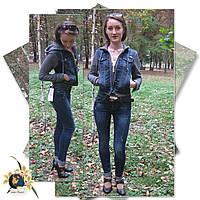 Джинсы женские модные зауженные Version тёмно-синего цвета с ремнём