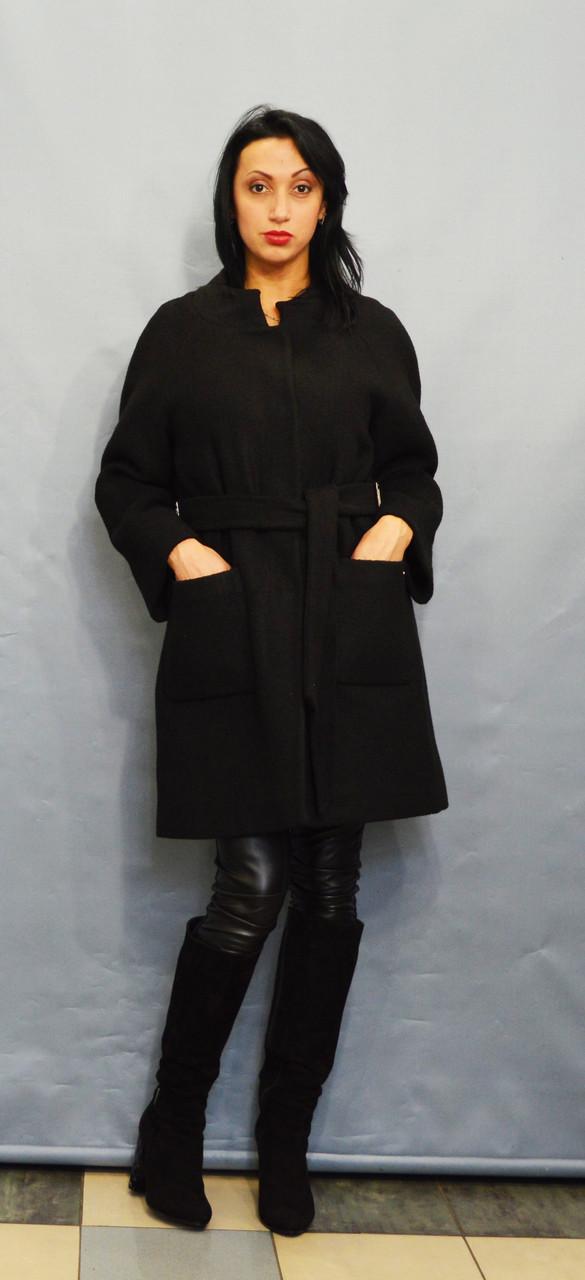 Пальто чорний букле ICON 8543