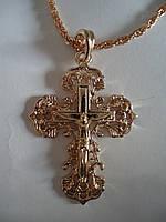 Крест кучерявый на толстой цепи под золото 4,5*3,2см