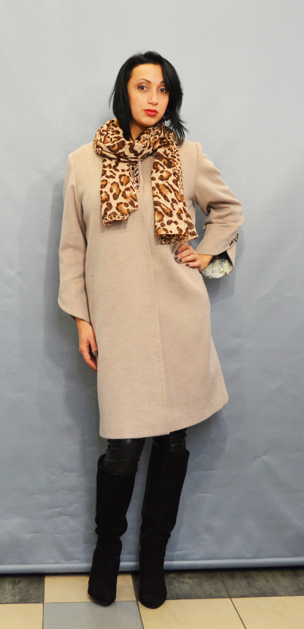 Женское бежевое пальто Velvet 22224
