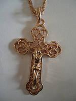 Крест фигурный на толстой цепи под золото 4,5*3см