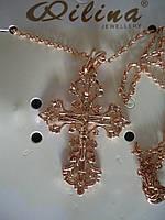 Крест кучерявый небольшойна цепи под золото 3,5*2,5см