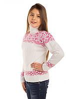 """Теплый вязанный свитер """"Дина"""" для девочки, белый с розовым узором"""
