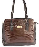 Стильная недорогая женская сумка с лаковой лицевой частью под рептилию art. 79075 черный/коричневый