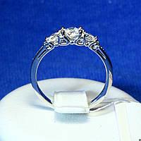 Серебряное кольцо с цирконом Классика 1204р, фото 1