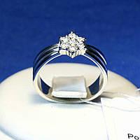 Широкое серебряное кольцо с цирконием Цветок 1252р