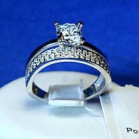 Двойное серебряное кольцо с цирконием и Дорожкой 1937р