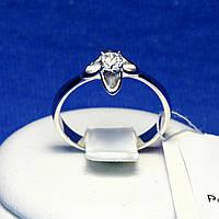 Серебряное кольцо с цирконом и родиевым покрытием 1965р, фото 1