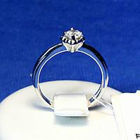 Серебряное кольцо для помолвки с белым цирконом 1978р, фото 1