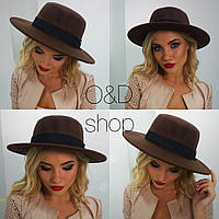 Шляпа фетровая женская федора разные цвета SHc19