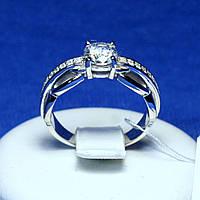 Серебряное кольцо с цирконом ювелирным 1984р, фото 1