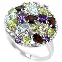Кольцо серебро 925 пробы с камнями микс