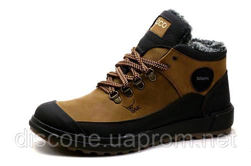 Зимние ботинки мужские ЕССО Biom, на меху, натуральная кожа, коричневые