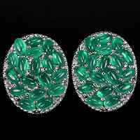 Комплект серебро 925 природный зеленый авантюрин