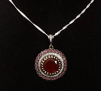 Колье серебро 925, бронза рубин, топаз