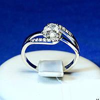 Серебряное кольцо с цирконом овальным 11023р, фото 1