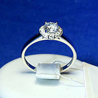 Серебряное кольцо с фианитами и родиевым покрытием 11037р