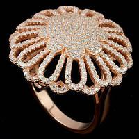 Кольцо серебро 925 с цирконием, покрытие золото