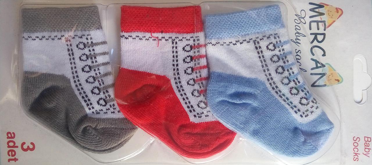 Детские носочки, 0-6 мес, 3 шт в упаковке, Турция, оптом