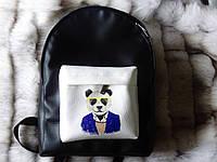 Рюкзак с пандой из эко-кожи черный