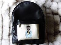 Рюкзак собезьяной из эко-кожи черный