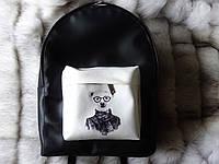 Рюкзак с белым медведем из эко-кожи черный