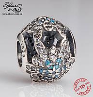 """Серебряная подвеска-шарм Пандора (Pandora) """"Блестящая снежинка"""" для браслета"""
