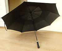Большой семейный, мужской зонт трость с клапаном. Полуавтомат. Антиветер. Диаметр купола 134 см.