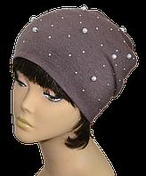Шапка женская  колпак  модная утепленная Жемчуг  размеры 56-59 лиловая