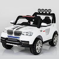 Двухместный электромобиль Джип M 0008 4Х4 Белый надувные колеса, кож. сиденье