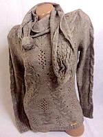 Турецкая вязаная кофта с шарфом