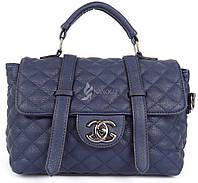 Сумка женская мягкая синяя стеганая Chanel, Синий