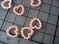 Декоративное сердечко из бусин, 10 мм, персиковое