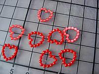 Декоративное сердечко из бусин, 10 мм, красное