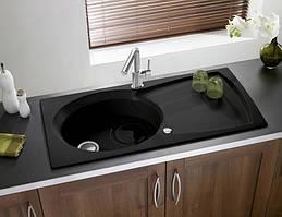 Гранитная кухонная мойка ASTRACAST (Longran) ELIPSE 1.0 Black Metallic