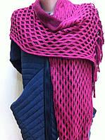 Двухцветный ажурный  шарф  с кистями цвет бордовый