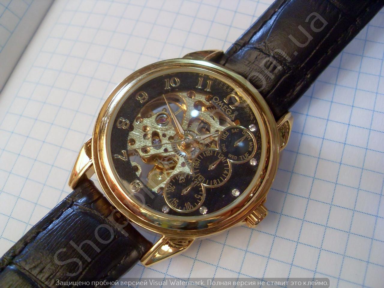 c15e0f5e326406 Часы Omega 114357 мужские механические черные с золотом автоподзавод  скелетон копия - Shoppingood в Харькове