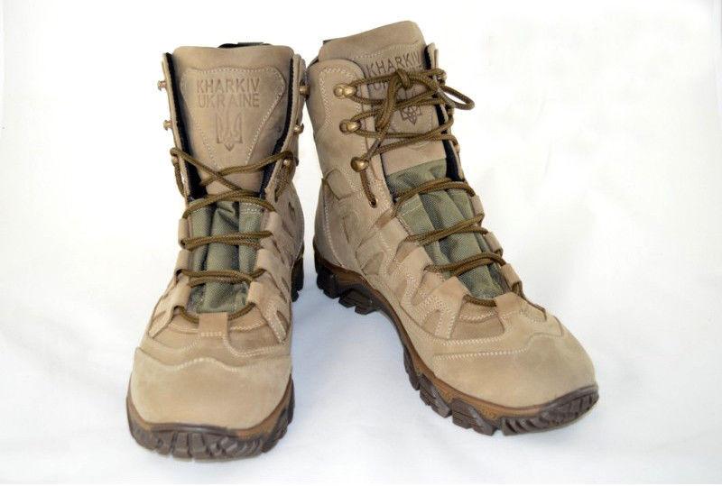 Тактичні кросівки з високими берцями  коричневого  кольору