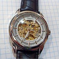 Часы Omega 114359 мужские механические черные с серебром автоподзавод скелетон