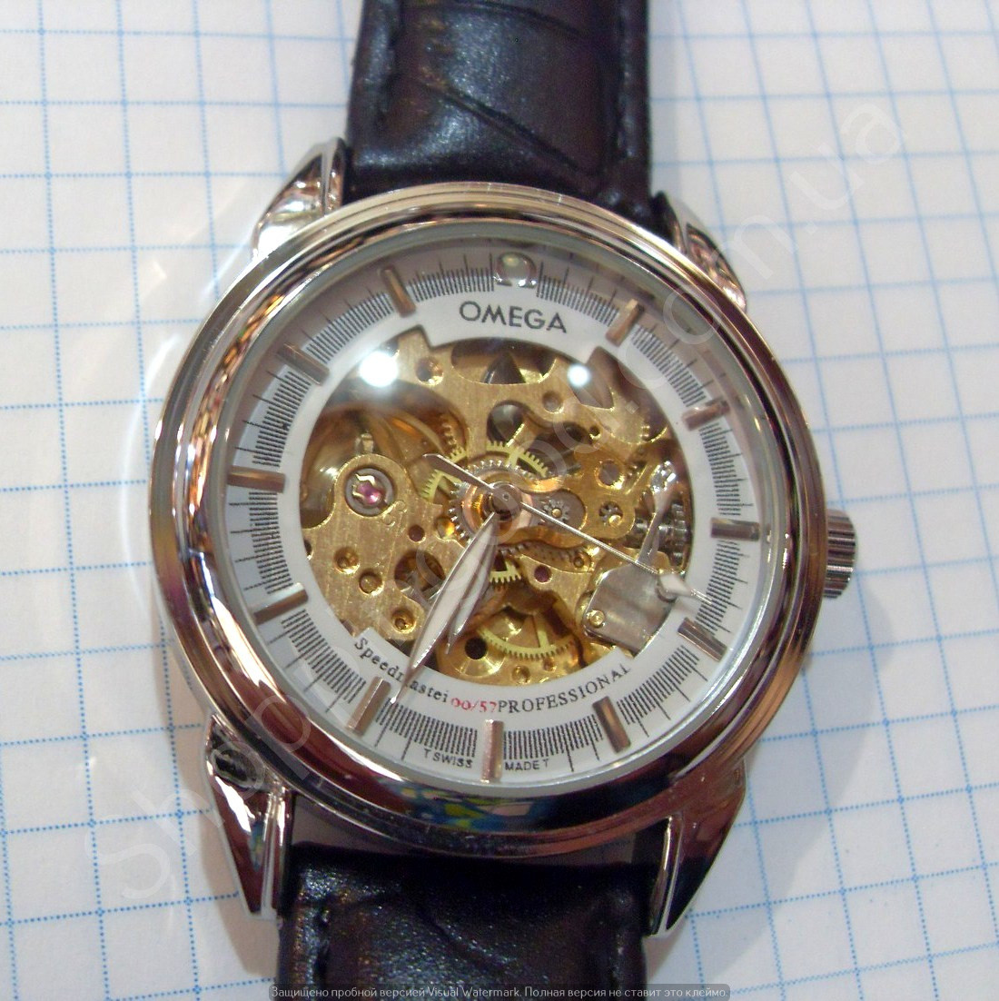 a74c31fca4c5d8 Часы Omega 114359 мужские механические черные с серебром автоподзавод  скелетон копия