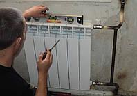 Монтаж радиатора системы отопления(подвод труб в утеплителе к месту установки радиатора ,навешивание радиатора