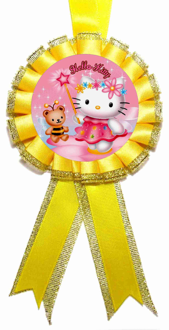 "Медаль детская ""Hello Kitty"". Диаметр с бантом: 85мм."