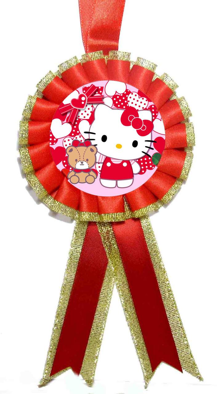 "Медаль детская ""Hello Kitty 2"". Диаметр с бантом: 85мм."