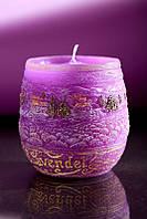 Свеча ароматическая лаванда 90х95мм. 1шт. фиолетовая